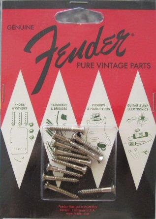 Fender Pure Vintage Strap Button Mounting Screws, Nickel (12) - Schraubenset
