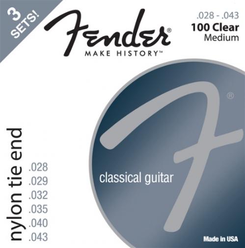 Fender Nylon Acoustic Strings, 100 Clear/Silver, Tie End, Gauges .028-.043, 3-Pack acoustic guitar strings