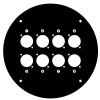 Adam Hall 70225 D8 Frontplatte für Kabeltrommel 70225 mit 8 x D-Typ Löchern