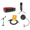 Crono Studio 101 XLR BK RP2 - Recording Pack 2 - Zestaw Studyjny - Komplet, mikrofon wielkomembranowy + koszyk + pop filtr + 2 rodzaje statywów + interfejs USB + przewód XLR